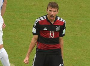 Thomas Müller jubelt über seinen Treffer zum 1:0 gegen die USA. Foto: dpa