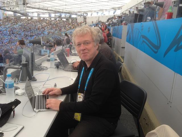 Unser Sportchef Christoph Fischer auf der Pressetribüne des Maracaná. Foto: pr
